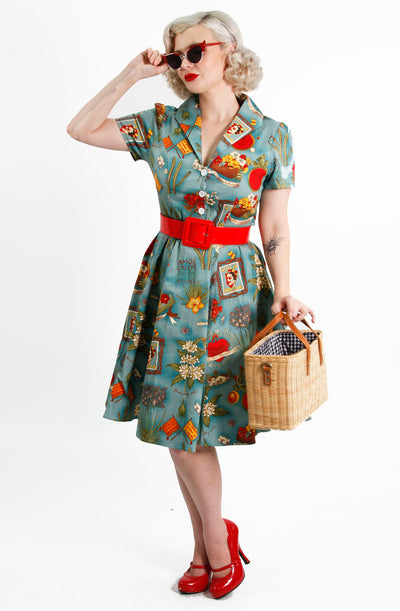 Turquoise Frida Swing Dress