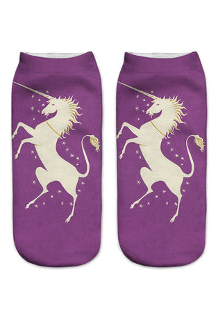 Purple unicorn ankle socks