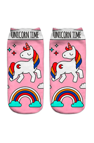 Unicorn time ankle socks