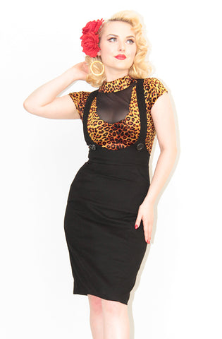 Black Retro Pinafore - Bonsai Kitten retro clothing, pin up clothing