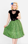 Green Leopard Gathered Skirt