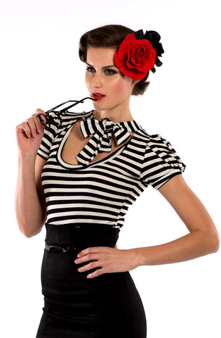 Black & White Stripe Pussybow Top - Bonsai Kitten retro clothing, pin up clothing