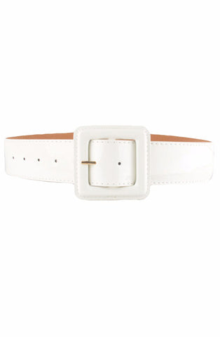 White patent cinch belt