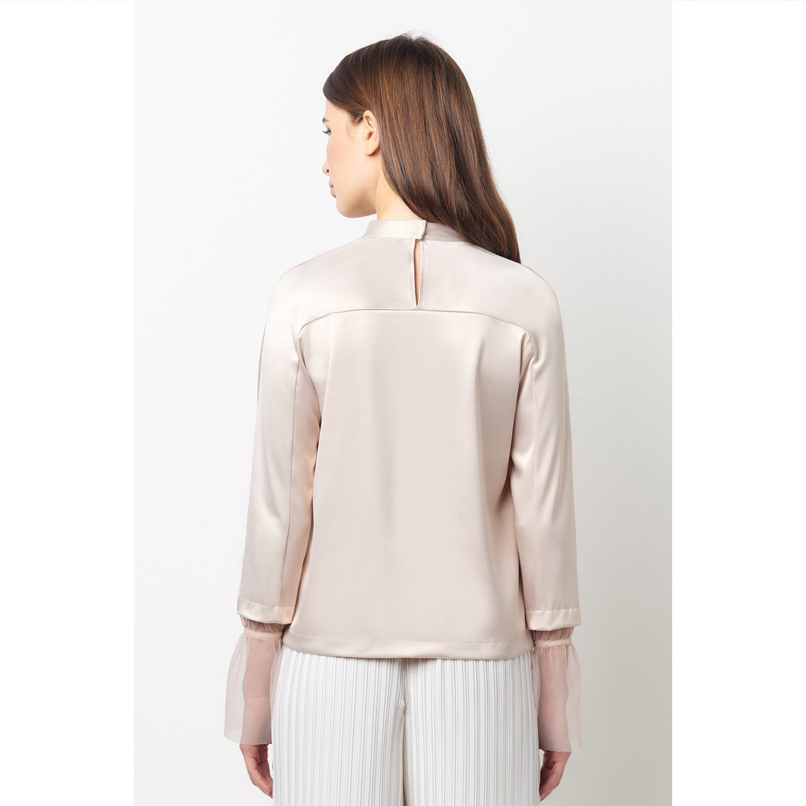 Maneli Nude Bell Sleeve Choker Top