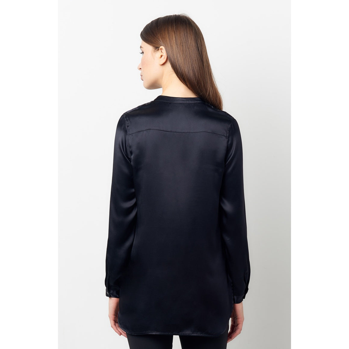 Maheen Black Silk Charmeuse Knot Pocket Shirt