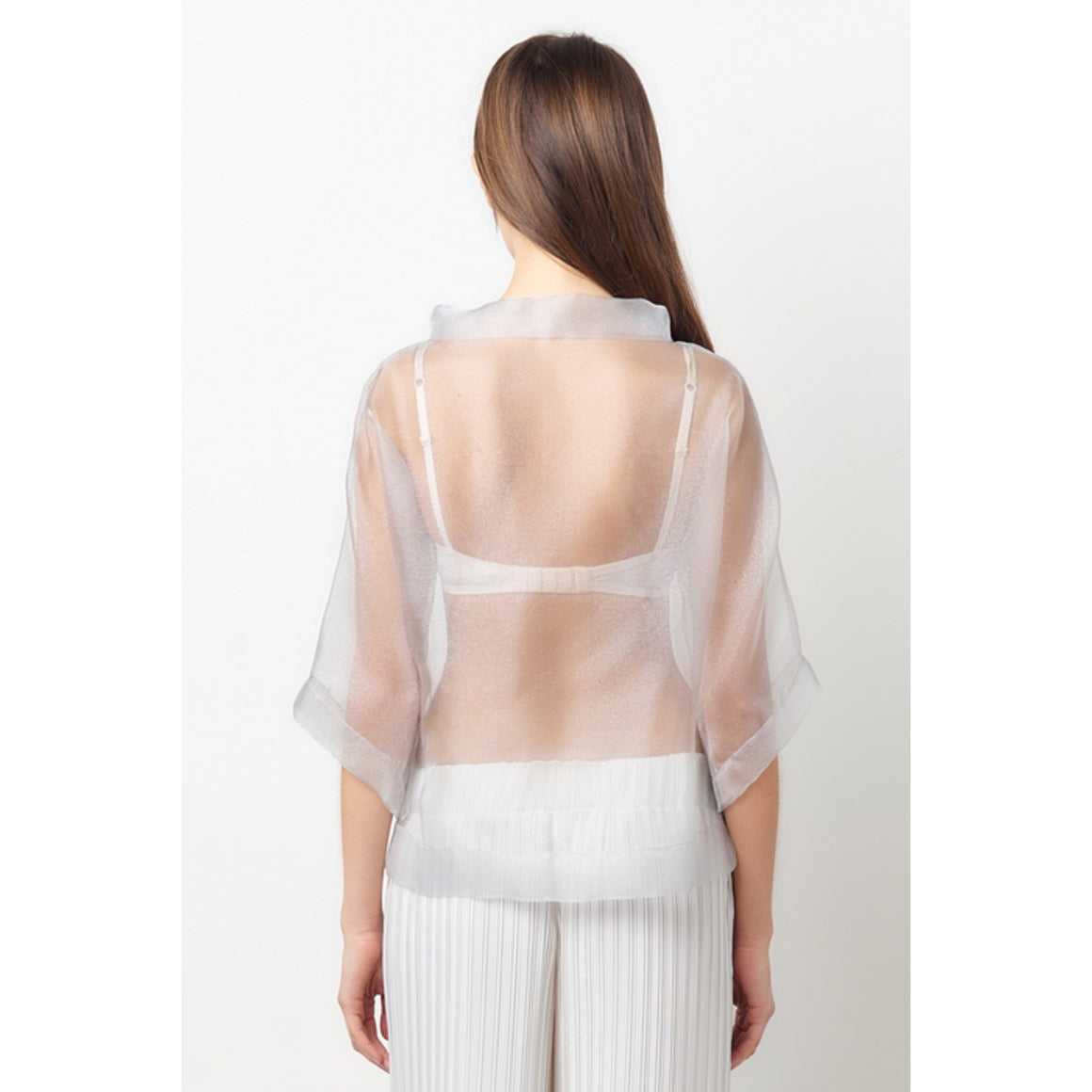 Vionnet Grey Sheer Organza Top
