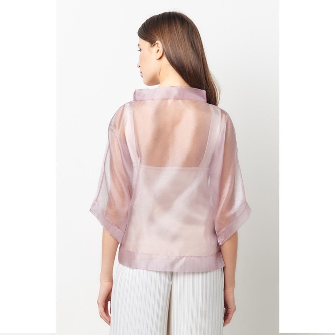 Vionnet Pink Sheer Organza Top