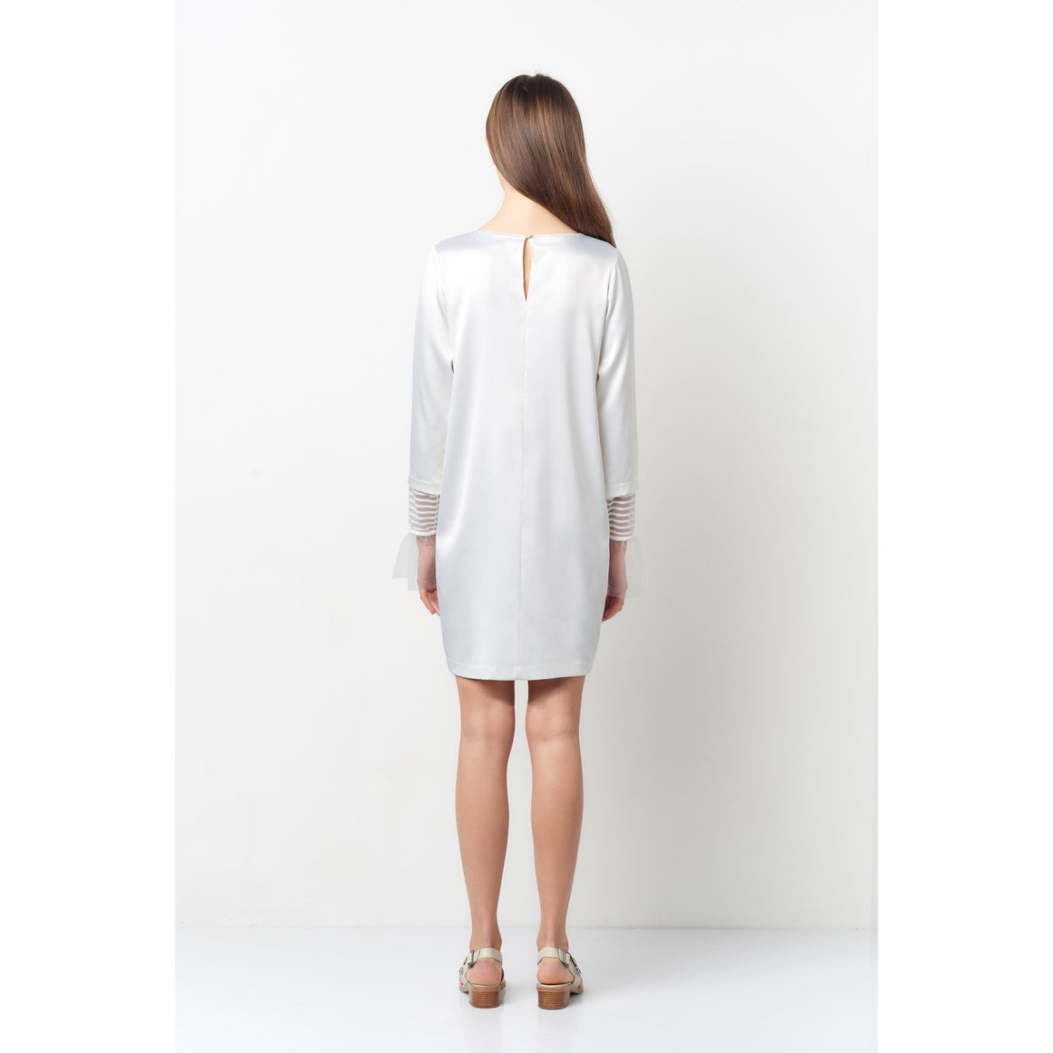 Vera Off White Tulle Bell Sleeve Dress
