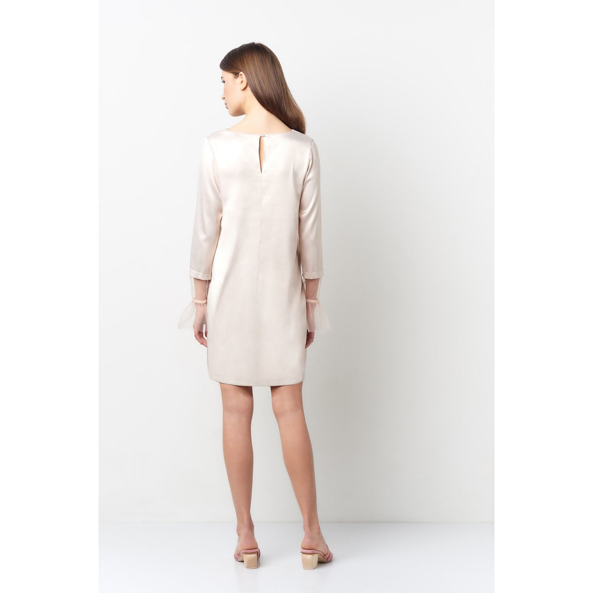 Vera Nude Tulle Bell Sleeve Dress