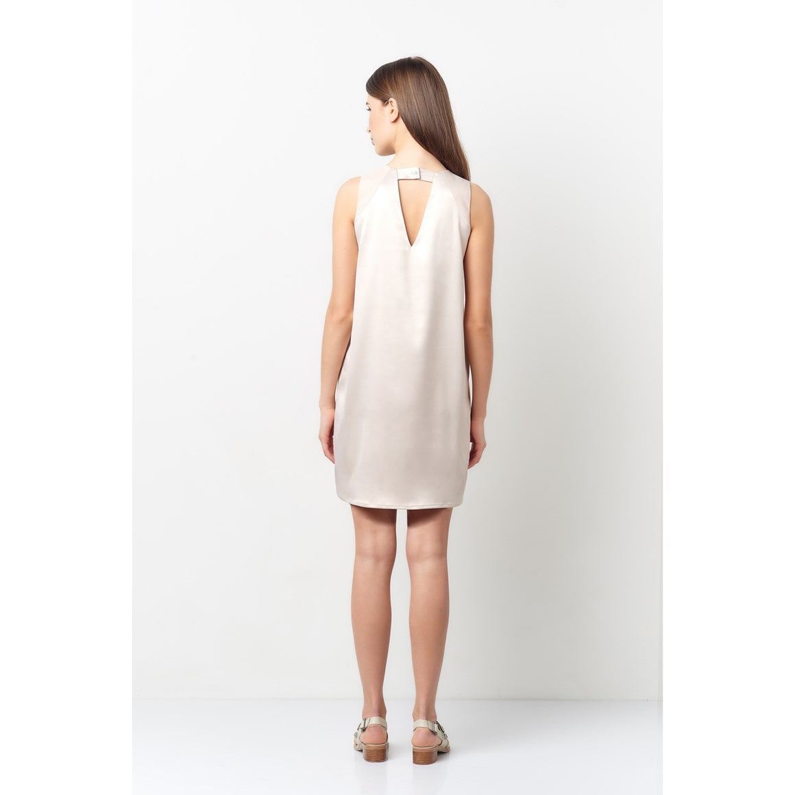Victoria Nude 3 Line V-Neck Dress