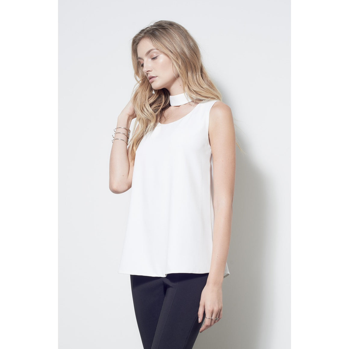 White Scoop Neck Choker Top