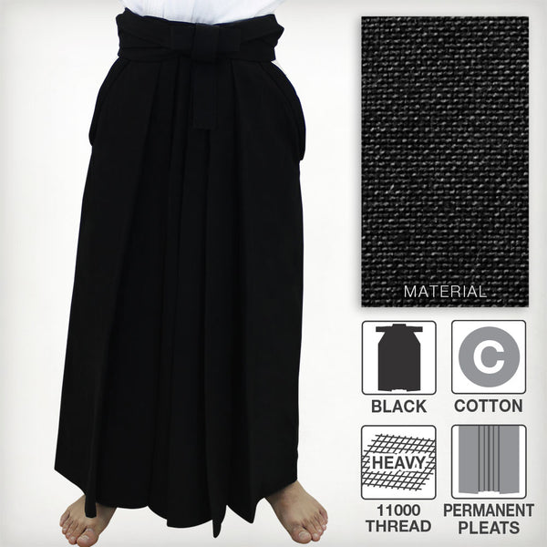 [NEW] #11000 Traditional Cotton Black Aikido Hakama (Permanent Pleats - Rubber Backplate)