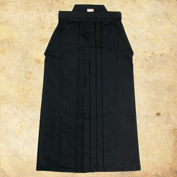 #11000 Cotton Black Aikido Hakama (Permanent Pleats - Rubber Backplate)