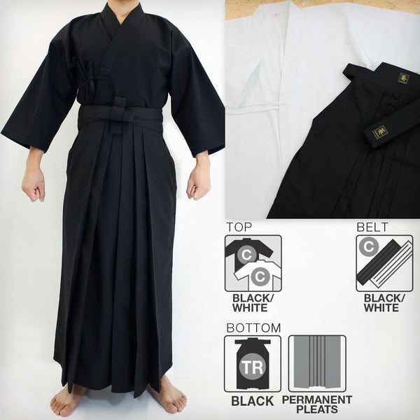 Cotton Basic Iaido Gi, Deluxe Tetron Hakama & Cotton Obi Set