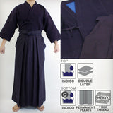 "DX Indigo-Dyed Double Layered Kendo Gi & ""GOLD AOI"" #11000 Cotton Hakama Set"