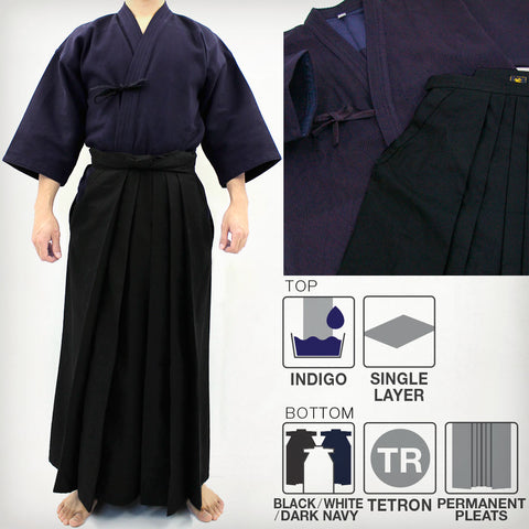Deluxe Indigo-Dyed Single Layered Kendo Gi & DX Tetron Hakama Set