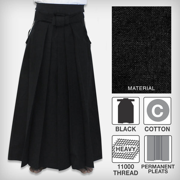 [New] #11000 Traditional Cotton Black Iaido Hakama (Permanent Pleats)