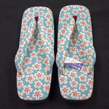 Japanese Setta Sandals (Chirimen Sakura Pattern - Blue)