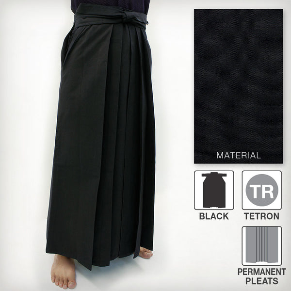 Deluxe Tetron Hakama - Black (Permanent Pleats)
