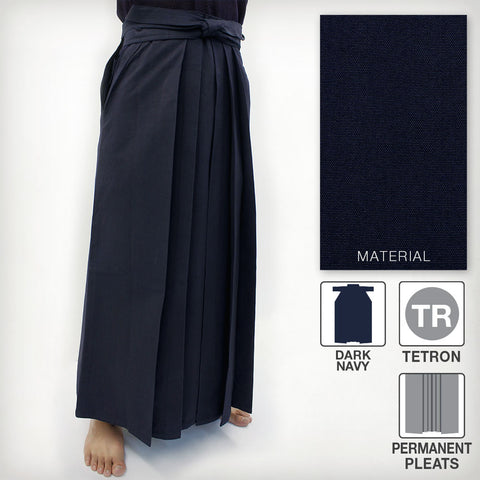 Deluxe Tetron Hakama - Dark Navy (Permanent Pleats)