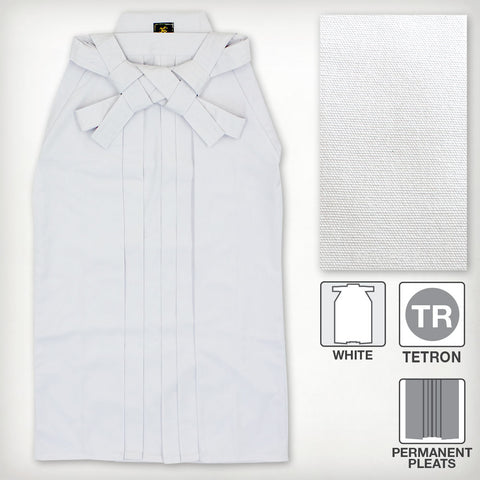 Deluxe Tetron Hakama - White (Permanent Pleats)