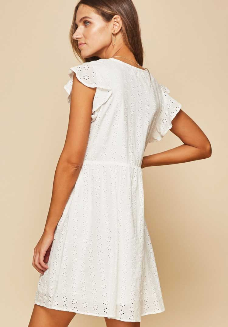 Flutter Sleeve Eyelet Dress - Jade Creek Boutique