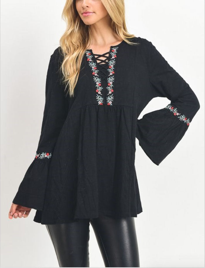 Embroidered Lace Up Top - Jade Creek Boutique
