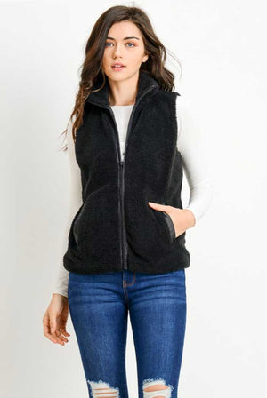 Black Fleece Zipper Vest - Jade Creek Boutique