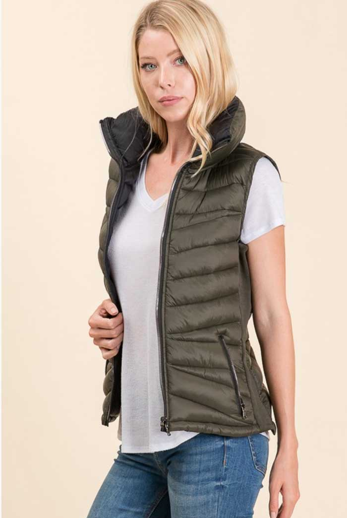 Green Black Reversible Puffer Vest - Jade Creek Boutique