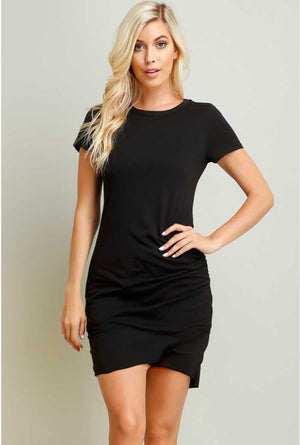 Ruched TShirt Dress, Black and White - Jade Creek Boutique