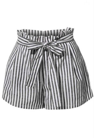 Striped Paperbag Waist Shorts - Jade Creek Boutique
