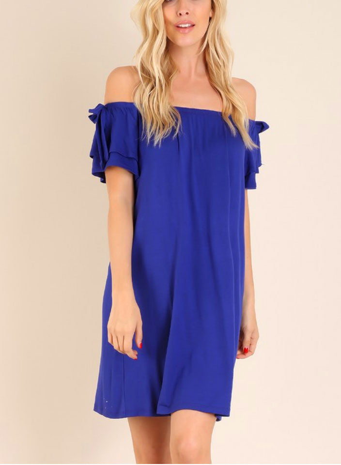 Royal Blue Ruffle Sleeve Off Shoulder Dress - Jade Creek Boutique