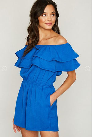 Off Shoulder Ruffle Romper - Jade Creek Boutique