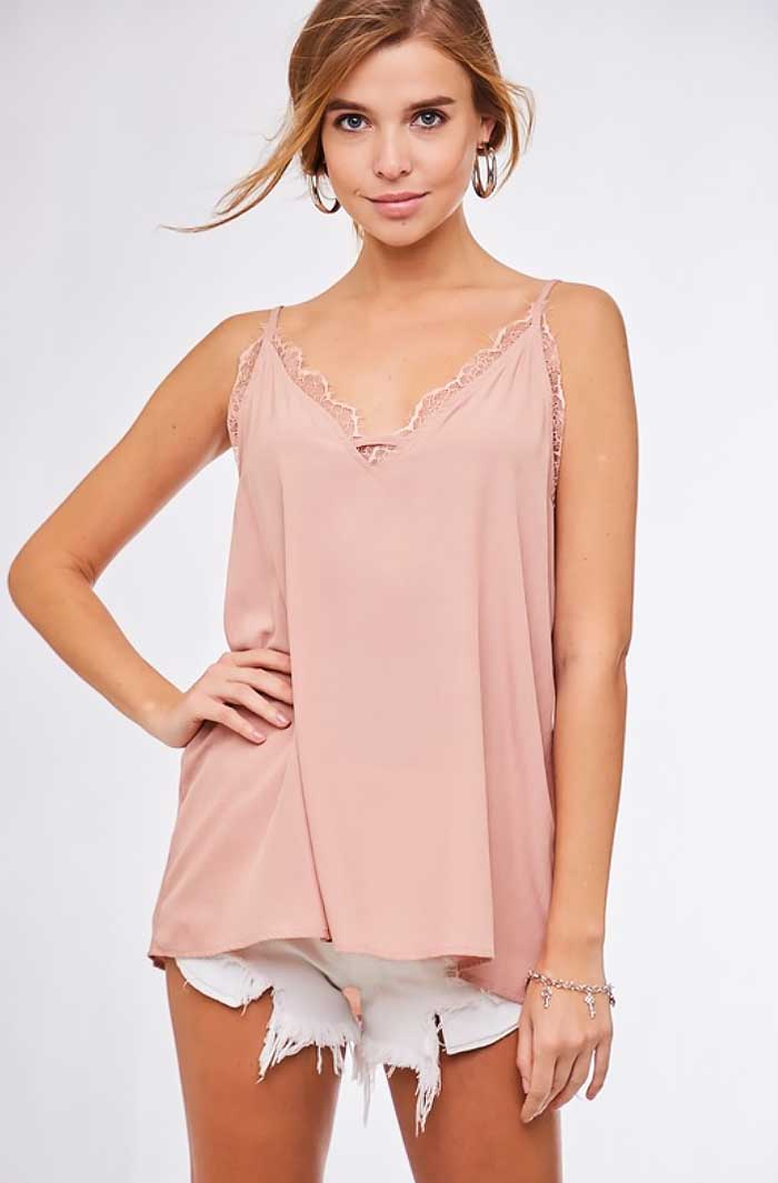 Blush Lace Trim Layering Cami - Jade Creek Boutique
