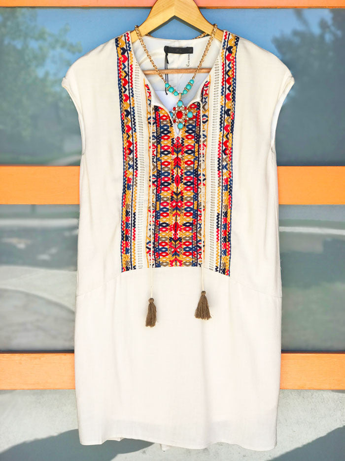 Embroidered Shift Dress - RESORT COLLECTION