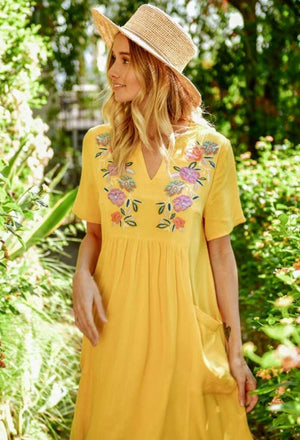 Embroidered Bohemian Babydoll Dress - Jade Creek Boutique
