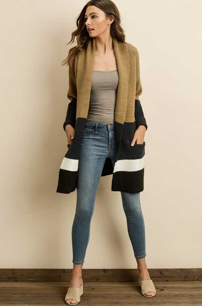 Luxe Camel Colorblock Cardigan