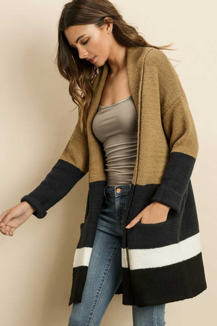 Luxe Camel Colorblock Cardigan - Jade Creek Boutique