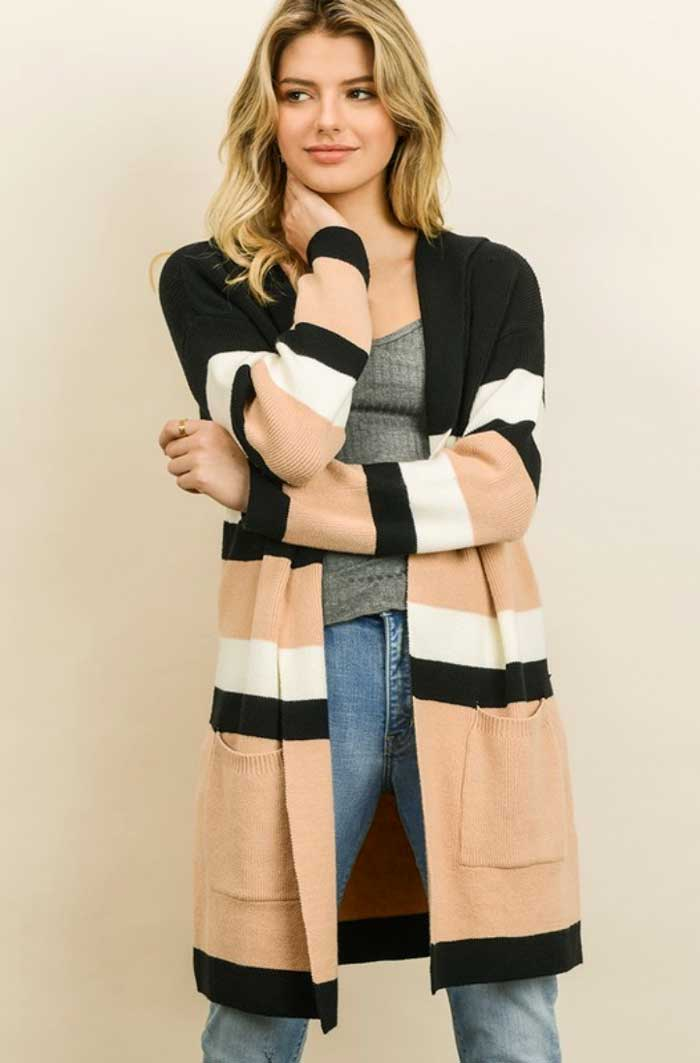 Hooded Color Block Cardigan - Jade Creek Boutique