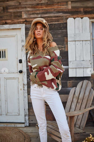 Distressed Camo Print Sweater