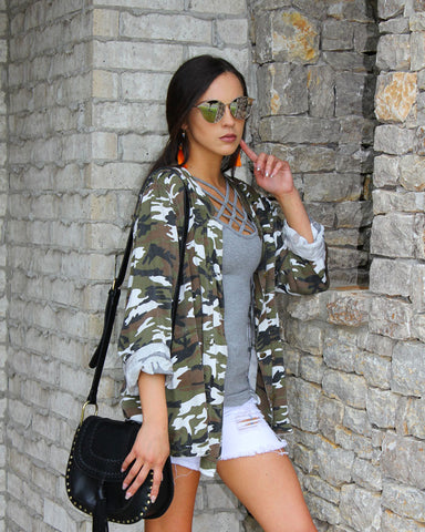 Camo Short Sleeve VNeck Top