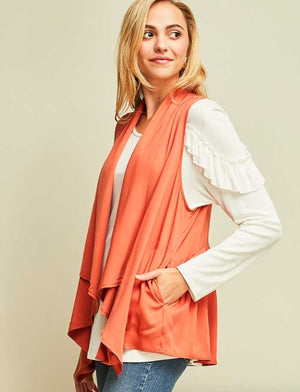 Cinnamon Twill Drape Vest - Jade Creek Boutique