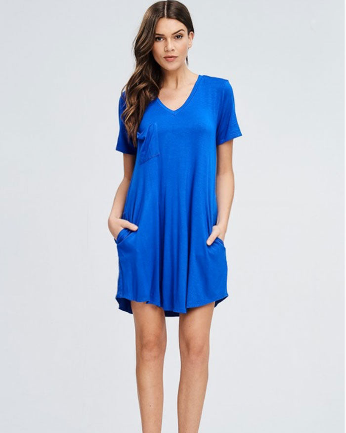 Cobalt Blue T-Shirt Dress - Jade Creek Boutique