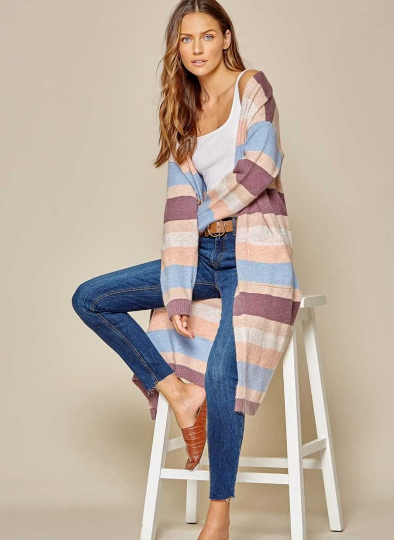 Multi Color Block Cardigan
