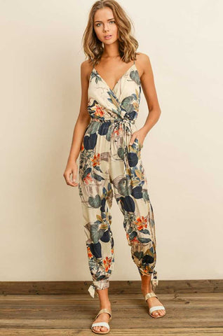 Navy Floral Cold Shoulder Jumpsuit
