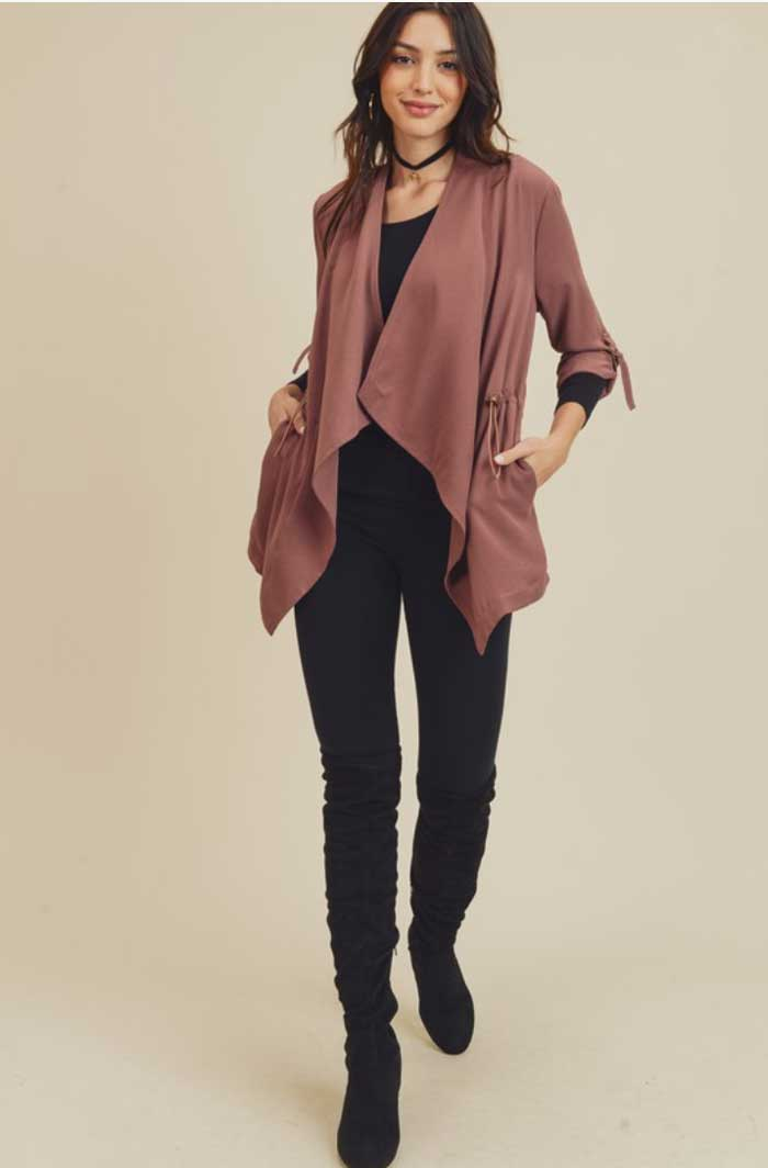 Warm Rose Drape Front Jacket