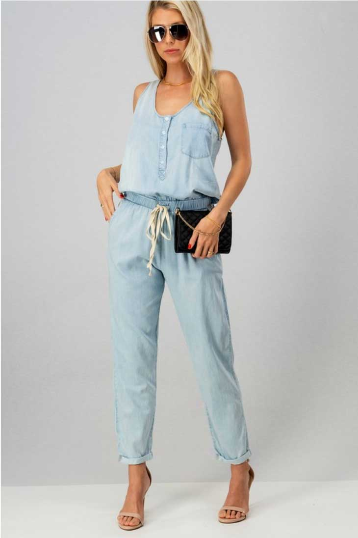 Chambray Denim Jumpsuit