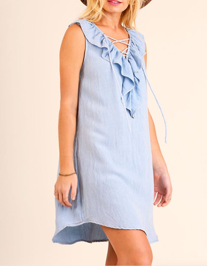 Denim Ruffled Lace Up Dress - Jade Creek Boutique