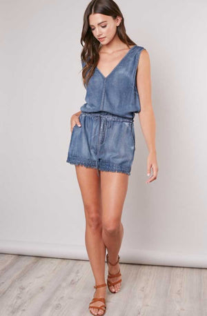 Frayed Hem Denim Romper - Jade Creek Boutique