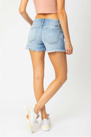 Destroyed Light Wash Denim Shorts